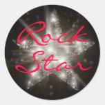 Pegatinas de la estrella del rock etiquetas redondas