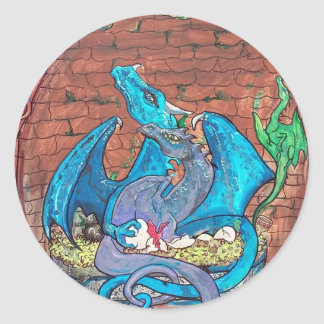 Pegatinas de la familia del dragón pegatina redonda