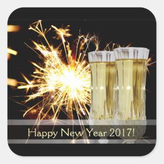 Pegatinas de la Feliz Año Nuevo Pegatina Cuadrada