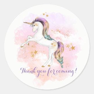 Pegatinas de la fiesta de cumpleaños del unicornio pegatina redonda