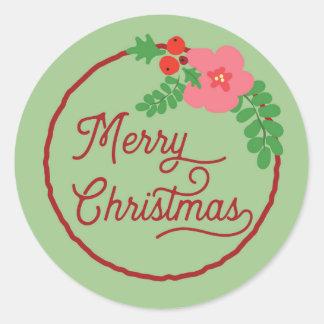 Pegatinas de la flora de las Felices Navidad Pegatina Redonda