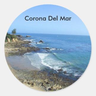Pegatinas de la playa de Corona del Mar California Pegatina Redonda