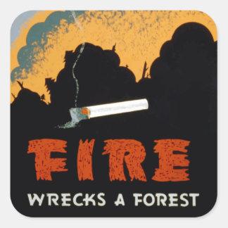 Pegatinas de la prevención el | del incendio fuera pegatina cuadrada