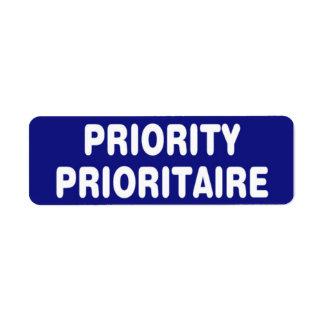 Pegatinas de la prioridad etiqueta de remite
