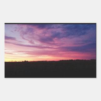 Pegatinas de la puesta del sol de la tarde pegatina rectangular