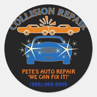 Pegatinas de la reparación auto de la colisión etiqueta redonda