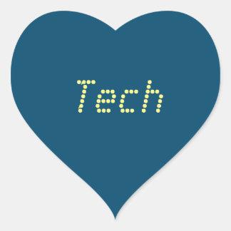 """Pegatinas de la """"tecnología"""" del amor pegatina en forma de corazón"""