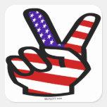 Pegatinas de los E.E.U.U. de los dedos de la paz