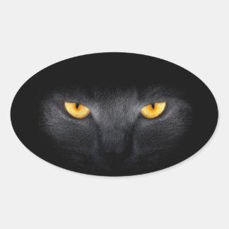 Pegatinas de los ojos de gato pegatina ovalada