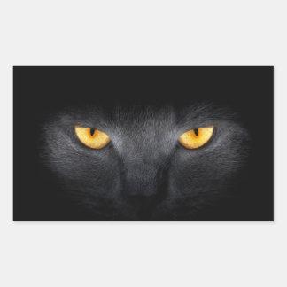 Pegatinas de los ojos de gato pegatina rectangular