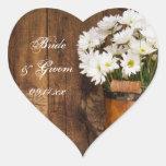 Pegatinas de madera del cubo y del boda del país d