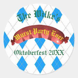 Pegatinas de Oktoberfest - fiesta del Wurst nunca Pegatina Redonda