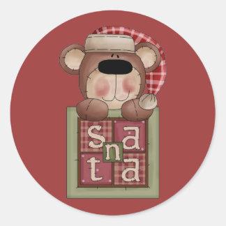 Pegatinas de Santa del oso de la colección del Pegatina Redonda