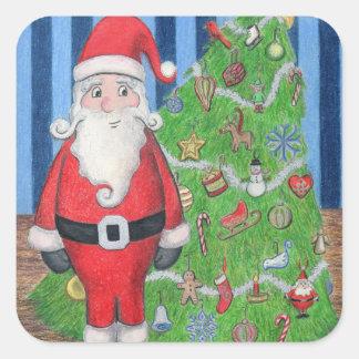 Pegatinas de Santa y del árbol de navidad Pegatina Cuadrada