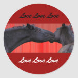 Pegatinas del amor del caballo etiqueta redonda