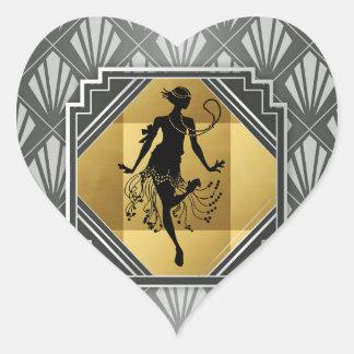Pegatinas del art déco de la aleta de Gatsby Pegatina En Forma De Corazón
