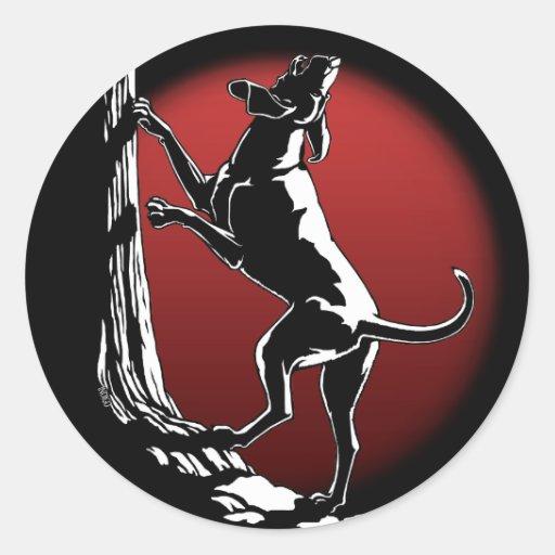 Pegatinas del arte del perro de caza de los etiquetas redondas