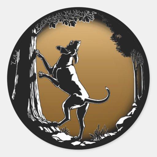 Pegatinas del arte del perro de caza de los etiqueta redonda
