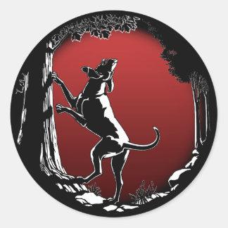 Pegatinas del arte del perro de caza de los pegatinas redondas
