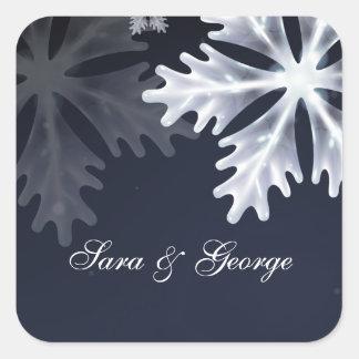 pegatinas del boda del invierno de los copos de pegatina cuadrada