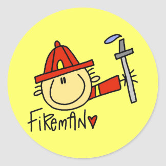 Pegatinas del bombero pegatina redonda