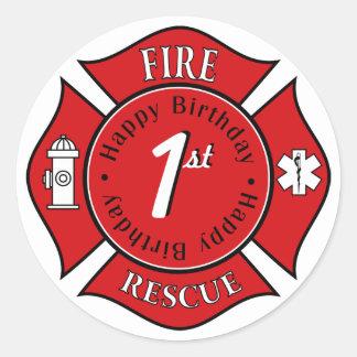Pegatinas del cumpleaños del bombero pegatina redonda