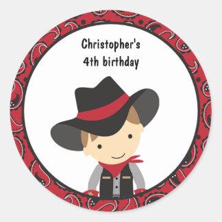 Pegatinas del cumpleaños del vaquero pegatina redonda