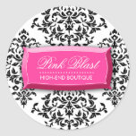 pegatinas del damasco de la ráfaga 311-Pink Etiqueta Redonda