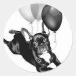 Pegatinas del dogo francés del cumpleaños pegatinas redondas