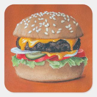Pegatinas del ejemplo de la hamburguesa pegatina cuadrada