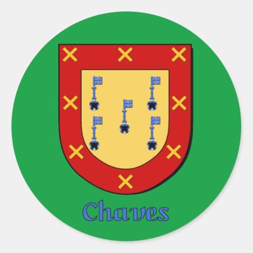Pegatinas del escudo de la familia de Chavez Pegatinas Redondas