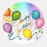Pegatinas del fiesta del feliz cumpleaños pegatina redonda