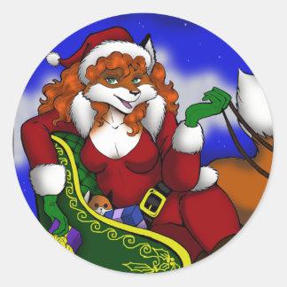 Pegatinas del Fox de Santa Pegatinas Redondas