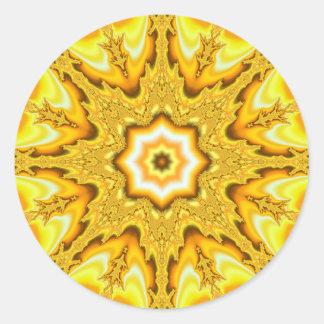 Pegatinas del fractal de la estrella del oro pegatina redonda