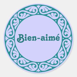 Pegatinas del francés de Bien-aimé Pegatina Redonda