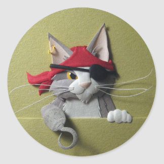 Pegatinas del gatito #2 del pirata pegatina redonda