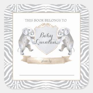 Pegatinas del libro del bebé del elefante pegatina cuadrada