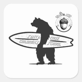 Pegatinas del logotipo del oso pegatina cuadrada