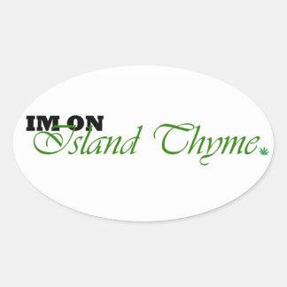 Pegatinas del logotipo del tomillo de la isla pegatina ovalada