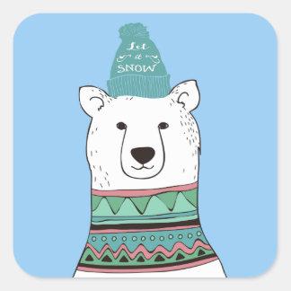 Pegatinas del navidad del oso polar pegatina cuadrada