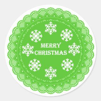 Pegatinas del navidad del verde del estilo del pegatina redonda