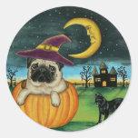 Pegatinas del perro del barro amasado de Halloween Pegatina Redonda