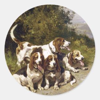 Pegatinas del perro Perros de caza - arte del vi