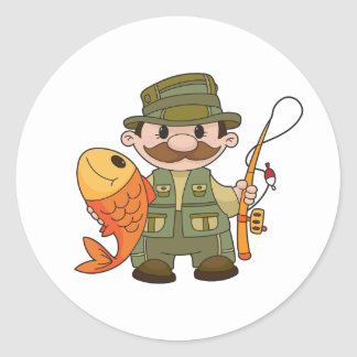 Pegatinas del pescador pegatina redonda