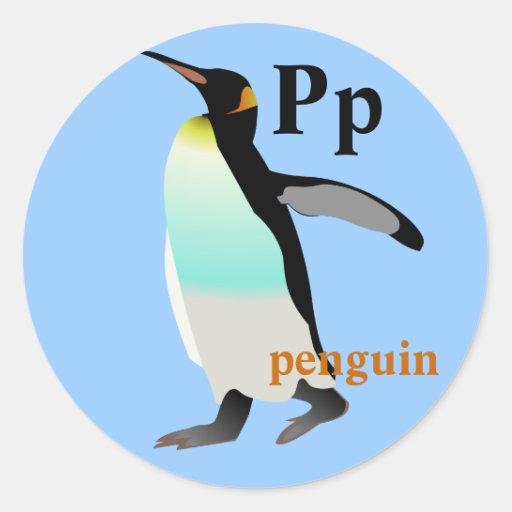 Pegatinas del pingüino de la letra P de Zazzle.