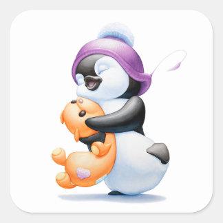 Pegatinas del pingüino y del oso de peluche calcomanías cuadradass personalizadas