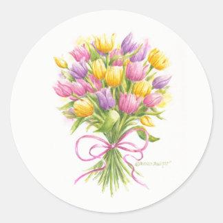 Pegatinas del ramo del tulipán de la acuarela pegatina redonda