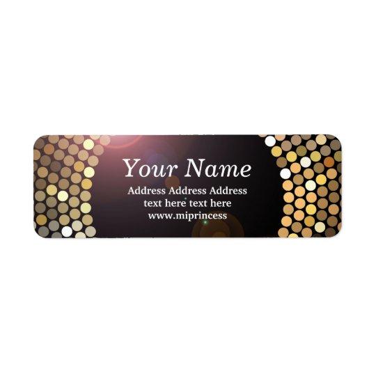 pegatinas del remite del disco del brillo del oro etiqueta de remitente