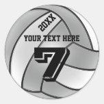 Pegatinas del voleibol con el AÑO, SU NOMBRE, Etiqueta Redonda