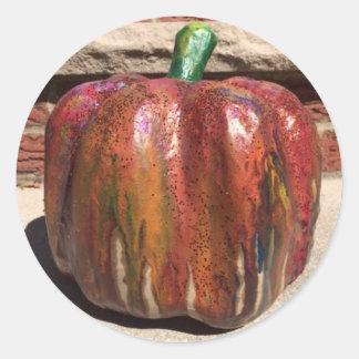 Pegatinas derretidos de Halloween de la calabaza Pegatina Redonda
